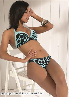 Prickig bikinitopp med push-up och halterneck